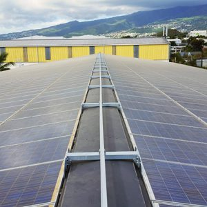 VERTIC's ALTIRAIL horizontal fall protection rail system on photovoltaic panels